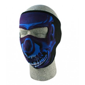 Blue & Black Painted Skull Full Face Mask