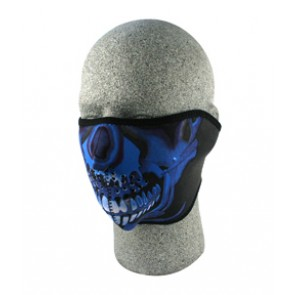 Blue & Black Painted Skull Half Face Mask