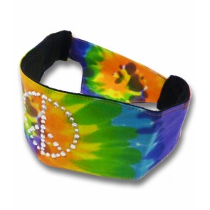Rainbow Tie-Dye Studded Peace Sign Adjustable Chop Top Bandana