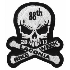 88th Laconia Bike Week White Skull Event Patch