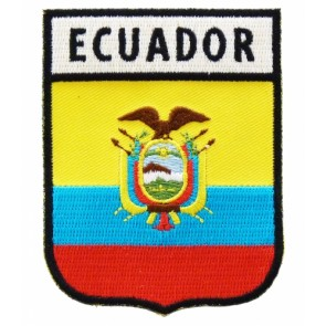 Ecuador Flag Shield Patch, Country Flag Patches