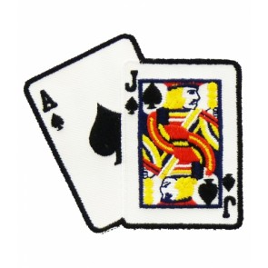 Blackjack 21 Card Hand Patch, Playing Cards Patches