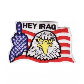 Hey Iraq Eagle Middle Finger Patch, Military Patches