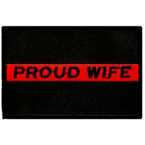 Proud Wife Thin Red Line Patch, Firefighter Patches