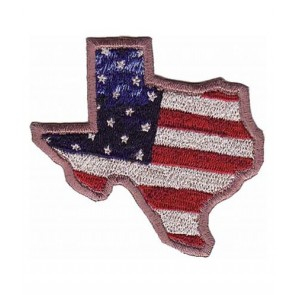 Texas Shaped American Flag Patch, Texas Flag Patches