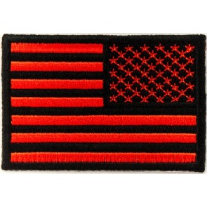 Embroidered American Flag Red & Black Reversed Patch