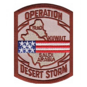 Embroidered Desert Storm Map US Flag Patch