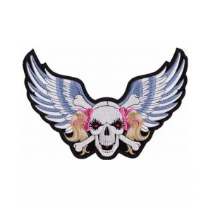 Pink Ribbon Skull & Blue Wings Patch, Ladies Patches