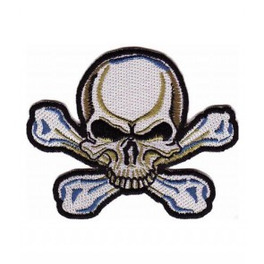 Blue & White Skull Patch, Skull & Crossbones Patches
