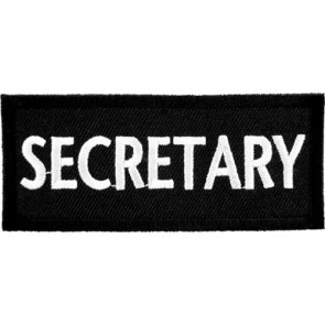 Secretary Black & White Patch, Biker Club Patches