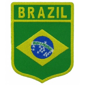Brazil Flag Shield Patch, Country Flag Patches
