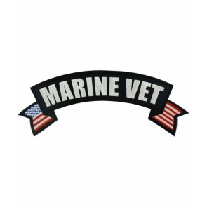 Marine Vet U.S. Flag Rocker Patch, Military Rocker Patches