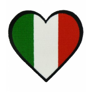 Italian Flag Heart Shaped Patch, Italian Pride Patches