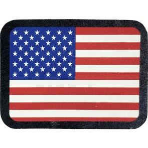 Red White & Blue American Flag Genuine Leather Patch