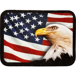 Waving red White & Blue American Flag & Eagles Head Genuine Leather Patch