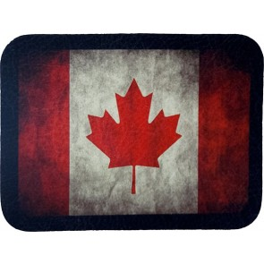 Red & White Canada Leaf Flag Genuine Leather Patch