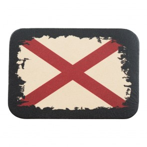 Brown Beige & Red Alabama State Flag Genuine Leather Patch