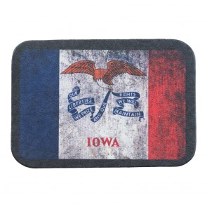 Red White & Blue Iowa State Flag Genuine Leather Patch