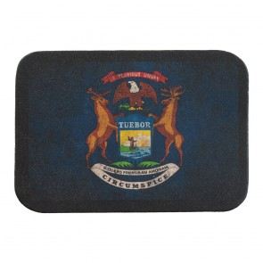 Michigan State Flag Soft Genuine Leather Patch