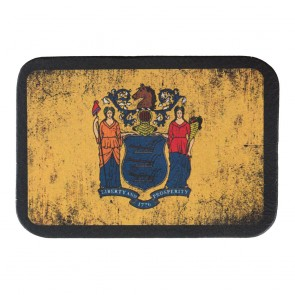 New Jersey State Flag Genuine Leather Sew On Patch