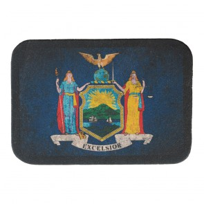 New York State Flag Genuine Leather Sew On Patch