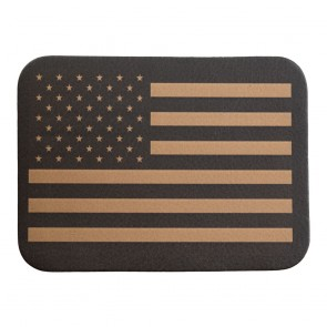United States Flag Tan & Black Genuine Leather Patch
