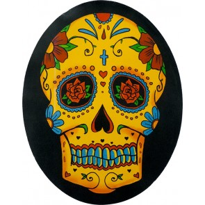 Orange Red & Blue Sugar Skull & Flowers Genuine Leather Patch