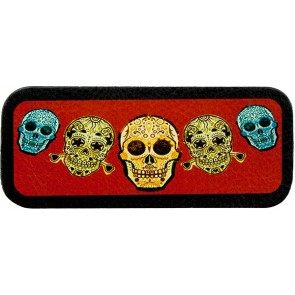 Five Day Of The Dead Blue Green & Yellow Skulls Genuine Leather Patch