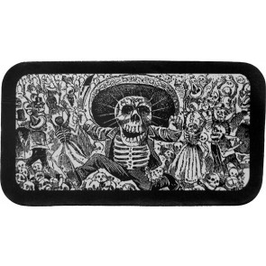 Dancing Skeleton Day Of The Dead Celebration Black & White Genuine Leather Patch