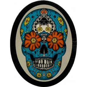 Blue yellow & Red Oval Day Of The Dead Sugar Skull Genuine Leather Patch