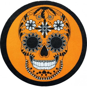 Orange Black & White Round Day Of The Dead Sugar Skull Genuine Leather Patch