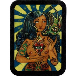 Blue Haired Mystic Gypsy Bird & Heart Genuine Leather Patch