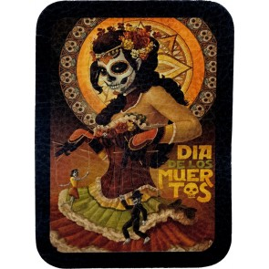 Dia De Los Muertos Day Of The Dead Woman & Marionettes Leather Patch