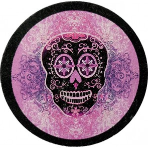 Purple & Black Sugar Skull Dia De Los Muertos Genuine Leather Patch