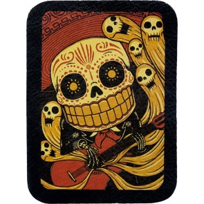 Guitar Playing Mariachi Sugar Skull & Dancing Ghosts Leather Patch