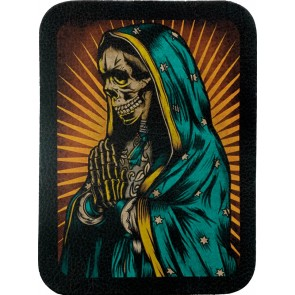 Blue Praying Virgin Mary Skeleton Genuine Leather Patch
