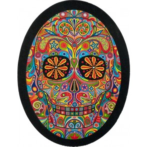 Rainbow Day Of The Dead Sugar Skull Oval Leather Patch