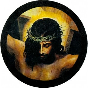Jesus With Crown of Thorns On Cross Genuine Leather Round Patch