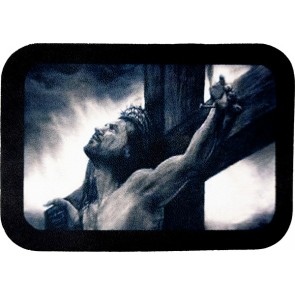 Jesus Christ Hanging From Cross Genuine Leather Patch