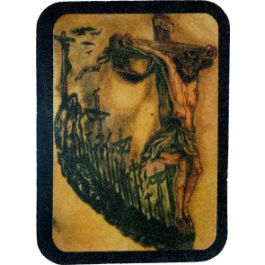Optical Illusion Of Crucifixion & Jesus Face Genuine Leather Patch