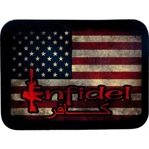 Faded Distressed Infidel American Flag Leather Patch