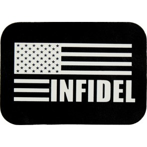 Infidel American Flag Black & White Genuine Leather Patch