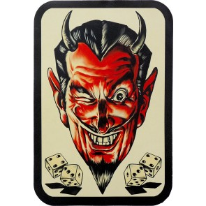Lucky Sevens Red Winking Devil & Dice Genuine Leather Patch