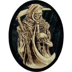 Grim Reaper Holding Skull With Sickle Statue Genuine Leather Oval Patch