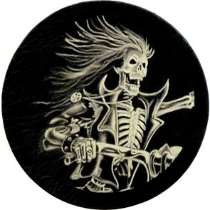 Black And White Skeleton Rider Genuine Leather Round Patch