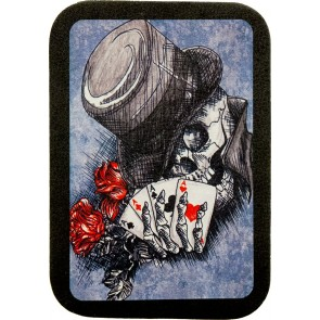 Top Hat Smiling Skull Roses & Aces 100% Genuine Leather Patch