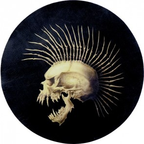 Pointy Teeth Skull & Mohawk Genuine Leather Round Patch