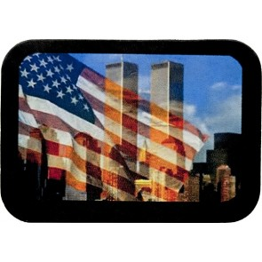 9-11 Twin Towers Waving Flag Memorial Genuine Leather Patch
