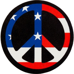 Red White & Blue American Flag Peace Sign Genuine Leather Patch