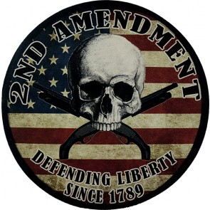 2nd Amendment Skull American Flag & Guns Genuine Leather Patch